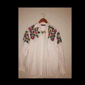 ZARA floral embroidered button-down